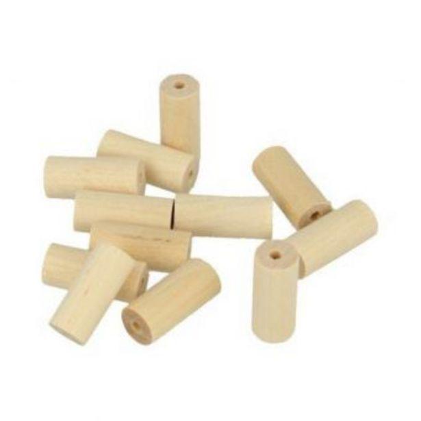 """Perle bois """"Lucy"""" cylindre 20x8,6mm 25 pièces offre à 2€"""