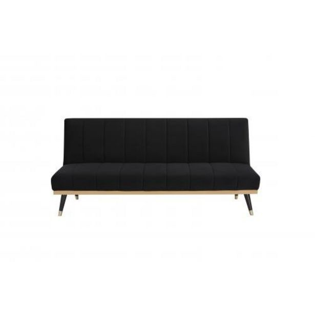 Canapé convertible en velours noir - ELLY offre à 375€