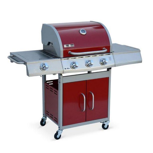 Barbecue gaz inox 14kW - Richelieu Rouge - Barbecue 3 brûleurs + 1 feu(...) offre à 319,9€