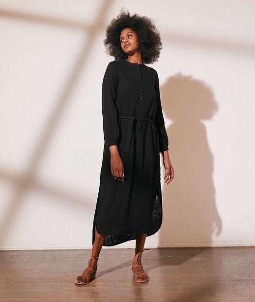 AMELIA Robe longue ceinturée en gaze de coton offre à 59,99€