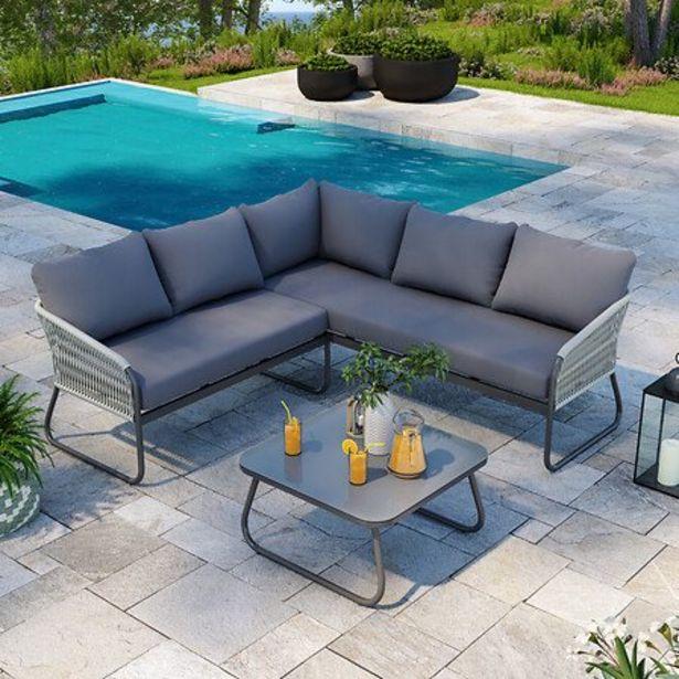 Salon De Jardin Design Avec Cordes Aluminium - Gris - Intérieur/extérieur - Utah offre à 459€