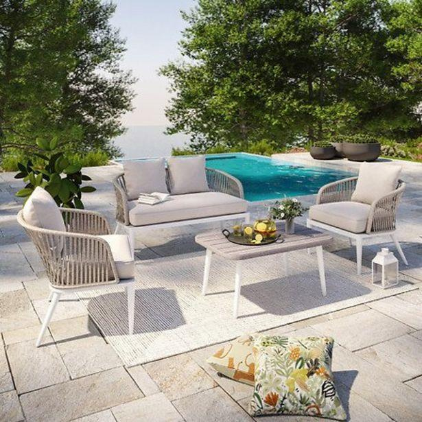 Salon De Jardin Cordes Et Aluminium - Blanc Gris - Intérieur/extérieur - Carmen offre à 699€
