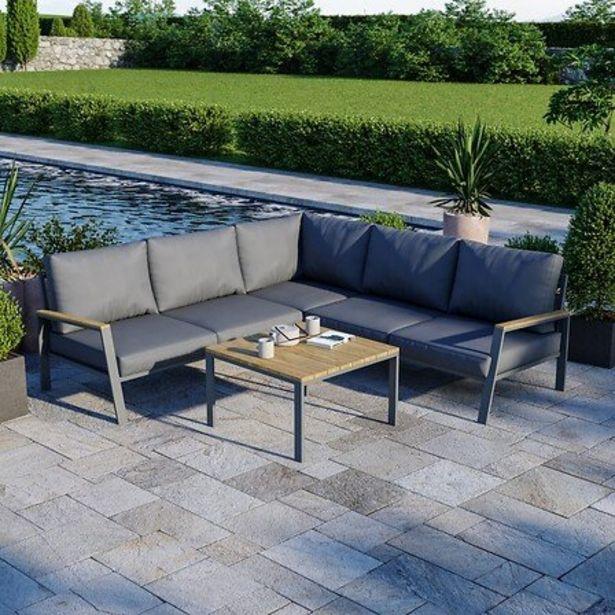 Salon De Jardin Design Aluminium Bois- Gris - Intérieur/extérieur - Doma offre à 599€