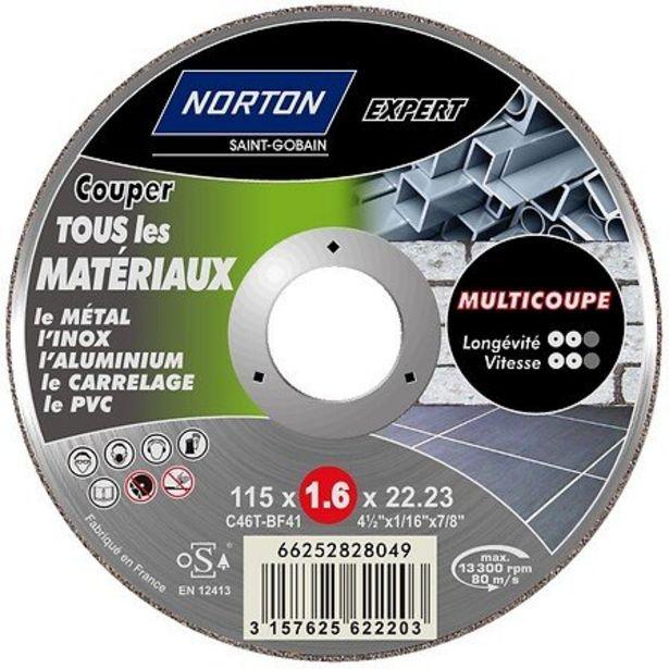 Disque 115x1.6x22.2mm pour découpe tous matériaux offre à 4,09€