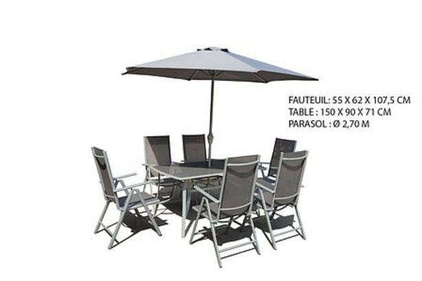 Salon de jardin 8 pièces silver Calas avec parasol offre à 309€