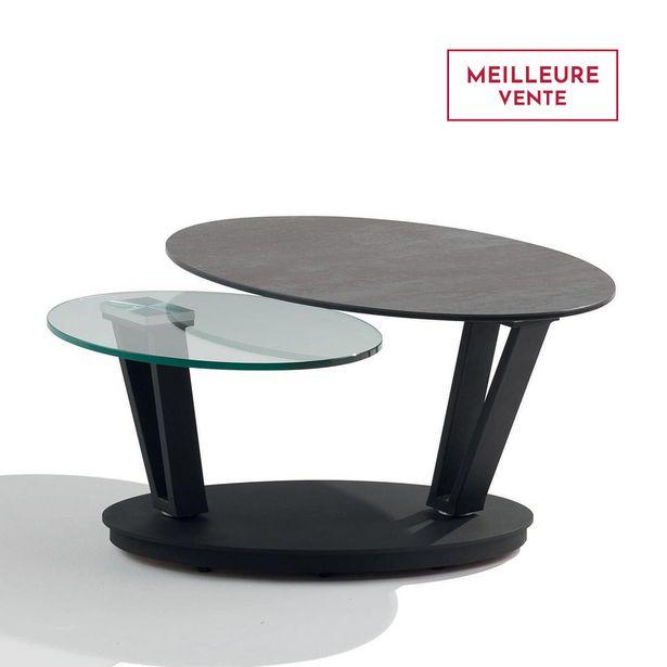 Table basse articulée en verre et céramique. offre à 1220€