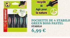Pochette de 4 stabilo green boss pastel offre à 6,99€