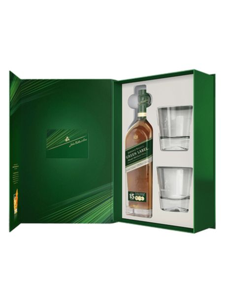 COFFRET JOHNNIE WALKER GREEN+2 VERRES offre à 43,85€