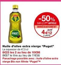 """Huile d'olive extra vierge """"Puget"""" offre à 5,49€"""