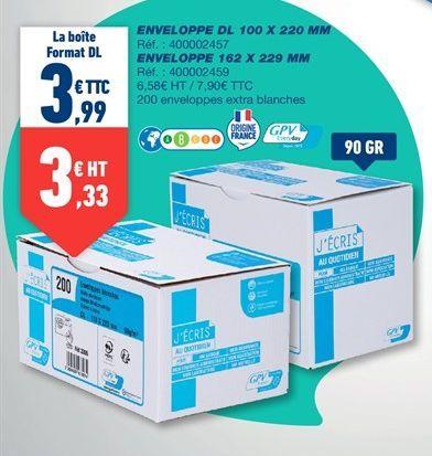 ENVELOPPE DL 100 X 220 MM offre à 3,99€