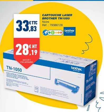 Cartouches laser brother TN1050 offre à 33,83€