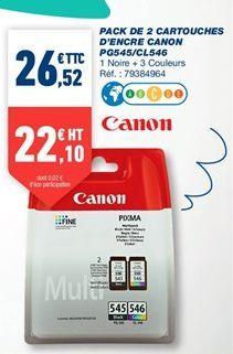Pack de 2 cartouches d'encre canon PG545/CL546 offre à 26,52€