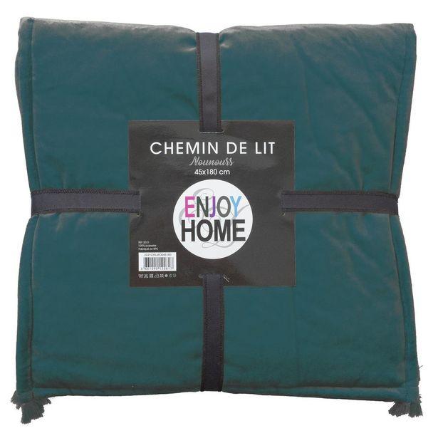 Chemin de lit Nounours - 45 x 180 cm - Vert foncé offre à 5€