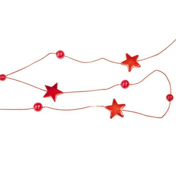 Guirlande avec des étoiles - Polyester - 1,8 m - Rouge offre à 0,6€