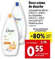 Dove crème de douche  offre à 2,79€