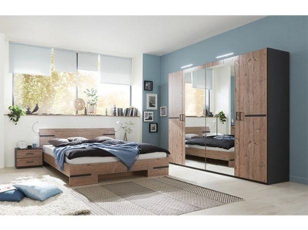 Pack armoire 4p+lit 140 + 2 chevets Anna chambre à coucher silver/graphite offre à 599€