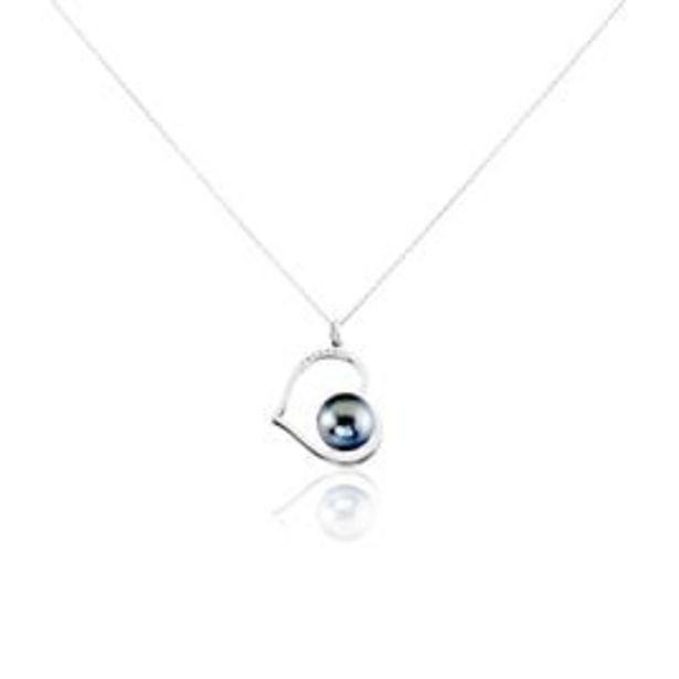 Collier Gian Or Blanc Perle De Tahiti Diamant - Colliers Coeur Femme | Histoire d'Or offre à 339€