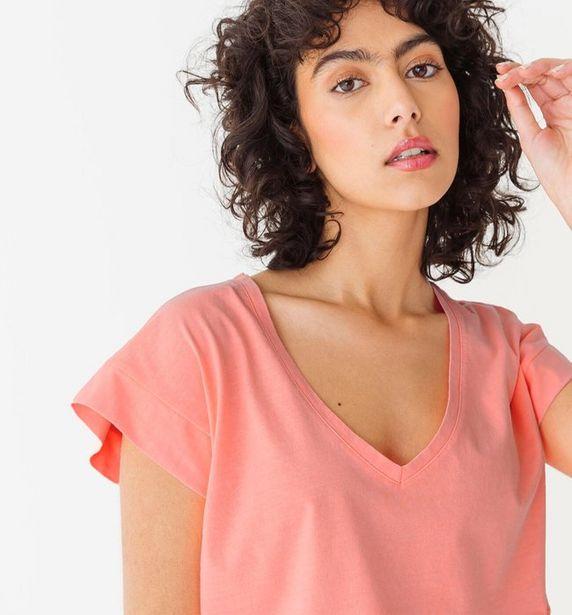 T-shirt col V en coton Femme offre à 7€