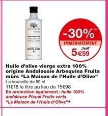 Huile d'olive extra vierge 100% origine Andalousie Arbequina fruits mûrs offre à 5,59€