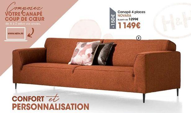 Canapé 4 places NOVARA  offre à 1149€