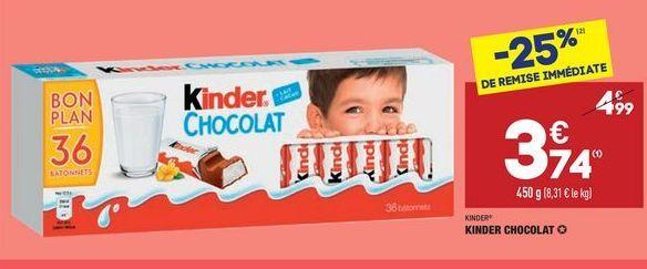 Kinder chocolats offre à 3,74€