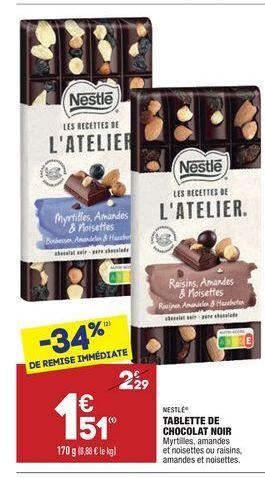 Tablette de chocolat noir offre à 1,51€