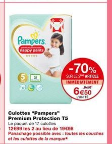 "Culotte ""Pampers"" Premium Protection T5 offre à 9,99€"