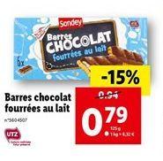Barres chocolat fourrées au lait  offre à 0,79€