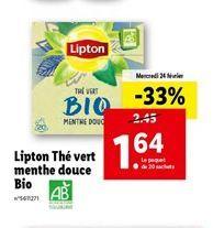 Lipton thé vert menthe douce bio  offre à 1,64€