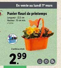 Panier fleuri de printemps  offre à 2,99€