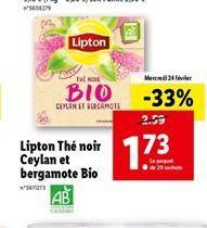 Lipton thé noir Ceylan et bergamote bio  offre à 1,73€