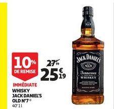 Whisky jack daniel`s old Nº 7 offre à 25,19€