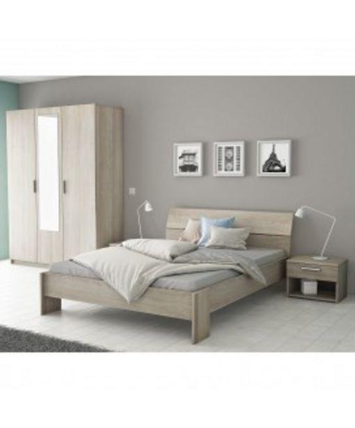 Chambre à coucher complète chêne shannon Pricy offre à 319,85€