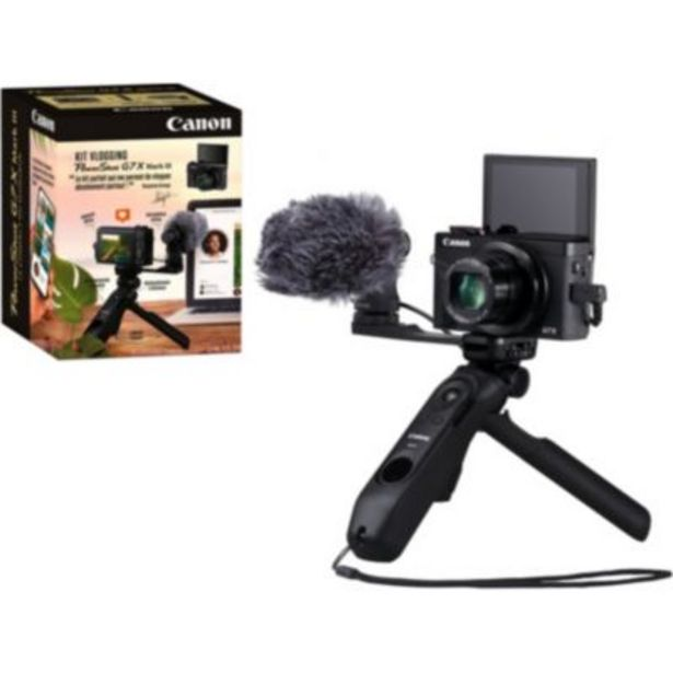 Appareil photo Compact Canon Kit Vlog G7X Mark III Noir offre à 899€