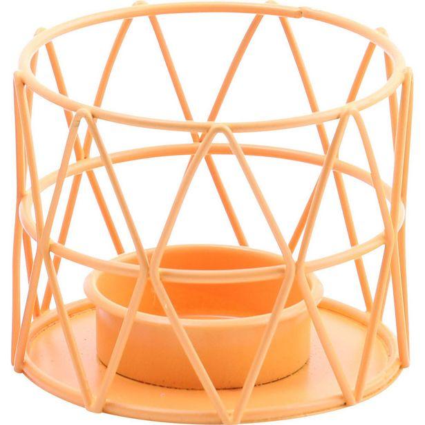 Photophore design géométrique métal orange offre à 4€