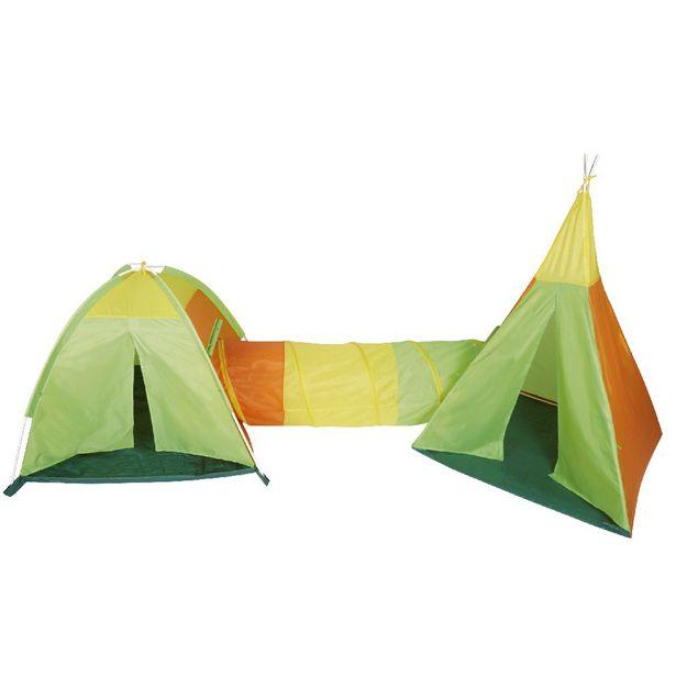 Structure de jeu 2 tentes avec tunnel multicolores offre à 29,99€