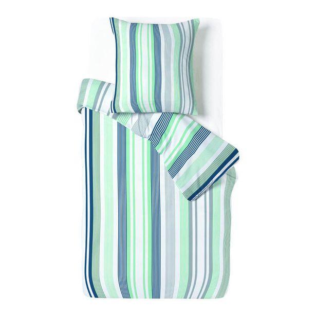Parure de lit blanche rayure verticale bleu vert 1 personne offre à 18€
