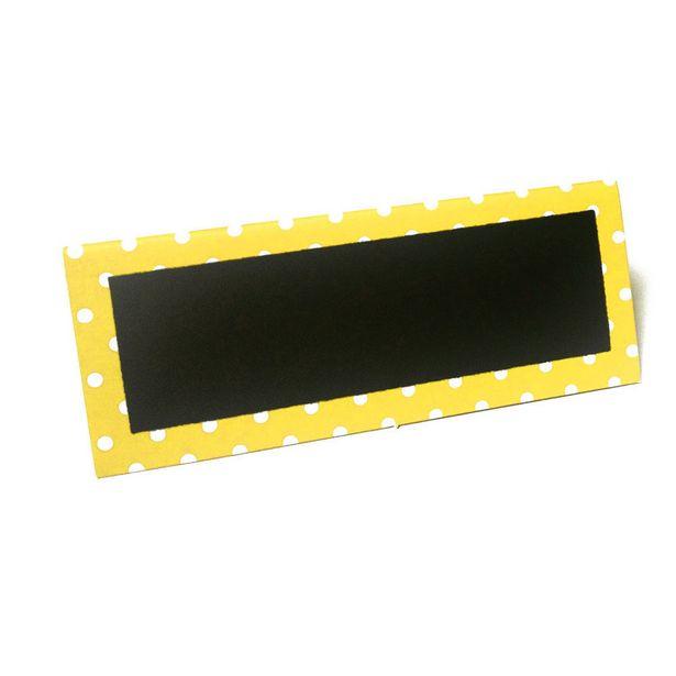 Chevalet porte-nom ardoise bord jaune à pois blancs x6 offre à 4€