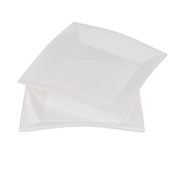 Assiette carrée 23x23 cm design incurvé blanc x6 offre à 4,25€