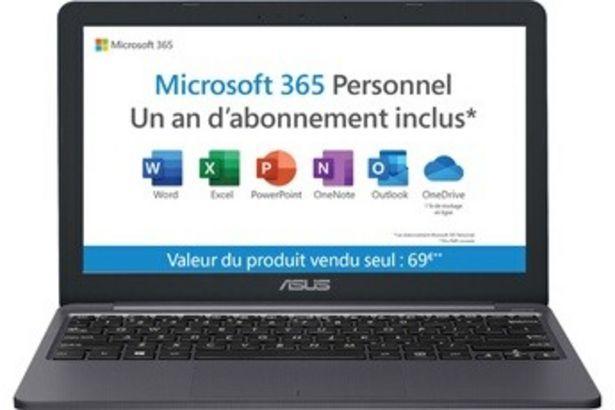 PC portable E203MA-FD100TS + 1 AN D'ABONNEMENT OFFICE 365 Asus offre à 289,99€