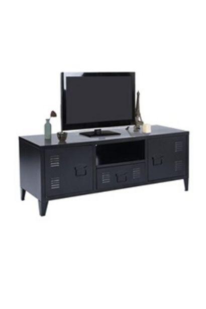 Urban Meuble Meuble tv métal avec 1 niche + 2 portes - style industriel noir offre à 175,99€