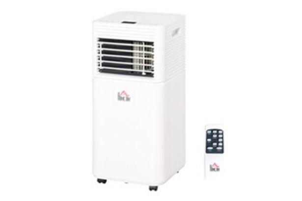 HOMCOM Climatiseur portable 9.000 btu/h - ventilateur, déshumidificateur - réfrigérant naturel r290 - télécommande - débit d'air 360 m³/h - blanc offre à 129,9€