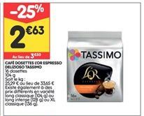 Café dosettes Tassimo offre à 2,63€