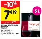 Merlot rouge vin de france offre à 7,19€