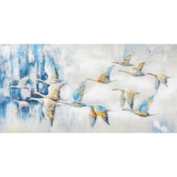 Tableau Envolée D'oiseaux blancs aux ailes dorées et bleues tons beiges, bleus, blancs et gris 140x70cm offre à 219€