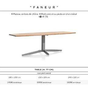 """TABLE """"FANEUR"""" offre à"""