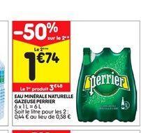Eau minérale naturelle gazeuse Perrier offre à 3,48€