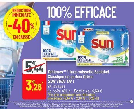 Tablettes lave-vaisselle Ecolabel Classique ou parfum Citron SUN TOUT EN 1 offre à 3,26€