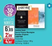 Saumon fumé cercle polaire norvegien grendes origines labeyrie offre à 4,8€