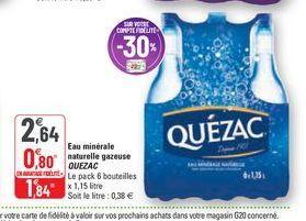 Eau minérale naturelle gazeuse Quézac offre à 2,64€